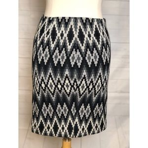 Michael Kors Black Gray and White Zipper Skirt
